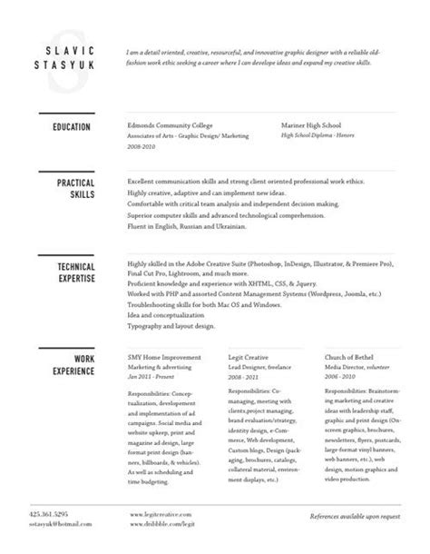 Simple Unique Resumes by 21 Best Images About Well Designed Resumes On Cleanses Behance And Self Promotion