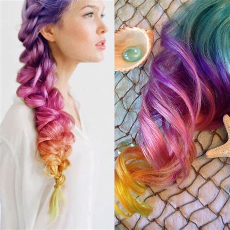 Rainbow Color Hair Extensions Ombre Hair Clip In Purple