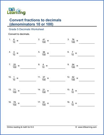 grade 5 math worksheets convert fractions to decimals