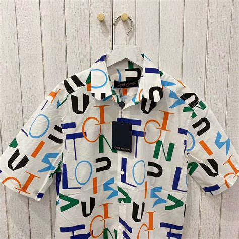 louis vuitton lv men lv electric regular dna short sleeved shirt lulux