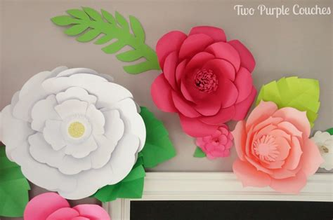 paper flower backdrop template diy paper flower backdrop two purple couches