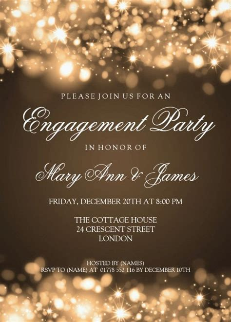 Sparkling lights engagement invitation to friends 5x7