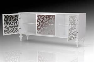 Ambra Modern White 3 Cabinet Buffet