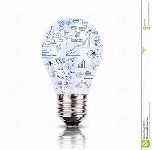Light Bulb With Drawing Graph Inside Stock Image