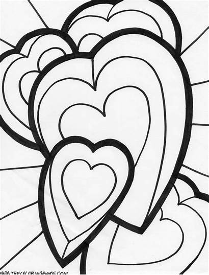 Coloring Pages Valentine Heart Hearts Printable Happy