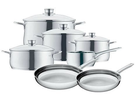 wmf diadem   piece cookware set  stainless steel ebay