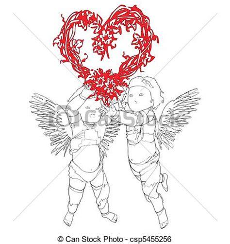 clipart angeli cuore angeli due ghirlanda cuore due forma vettore