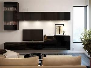 Mueble de tv besta alto brillo negro y armarios de pared for Ikea black gloss living room furniture