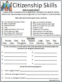 citizenship skills worksheet  empowered   tpt
