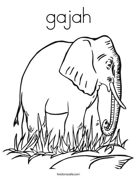 Coloring Gajah by Gajah Coloring Page Twisty Noodle