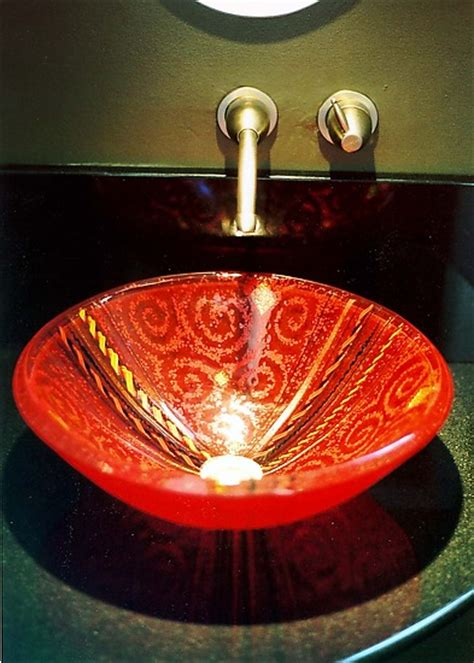 red venetian vessel sink  mark ditzler art glass sink