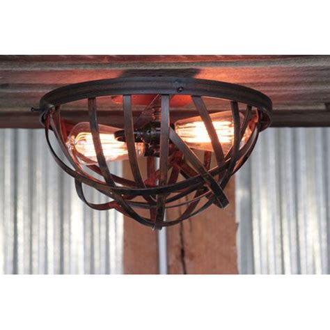 rustic two light flush mount for our home