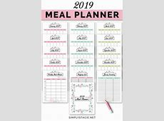 2019 Meal Planner Free Printable Simply Stacie