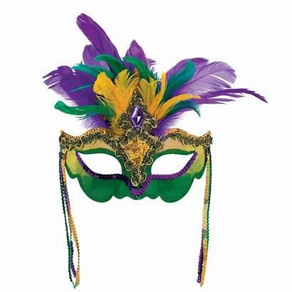 Gras Mardi Mask Purple Gold Feather Gem