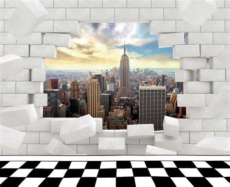 papier peint york pour chambre manhattan vue sur york derrière un mur en