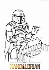 Mandalorian Coloring Colorear Yoda Dibujos Dune Cara Spaceship Characters Jedi Wonder Mandaloriano sketch template