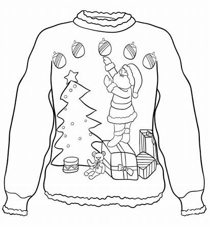Sweater Coloring Christmas Pages Ugly Santa Sweaters