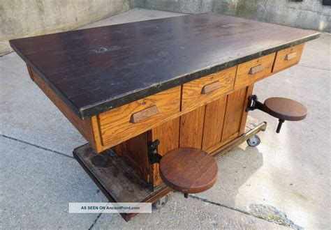 vintage oak wood chemistrylab school table kitchen
