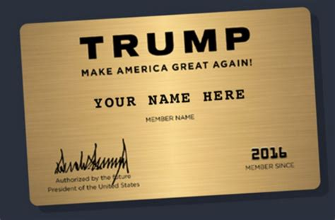 Donald john trump (b.queens, new york, on june 14, 1946), nicknamed the donald, is the 45th president of the united states of america, as a result of winning the 2016 presidential election as the republican party nominee. Trump Campaign Is Selling a (Now-Discounted) Gold Membership Card