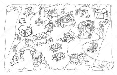 disegni di parco giochi disegni da colorare di una mappa e una pergamena per un
