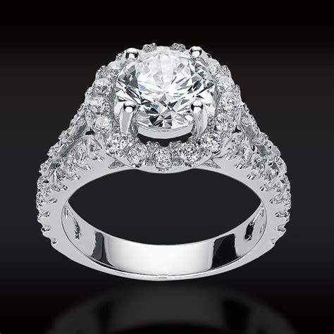 ct  cut halo lab engagement ring  split
