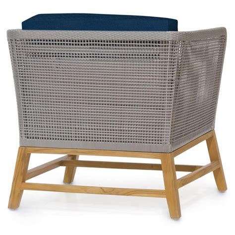 serena modern grey rope woven teak outdoor lounge chair