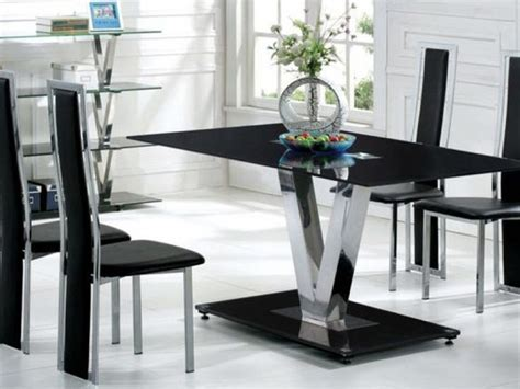 glass table six chairs black glass dining table and 6 black chairs set homegenies
