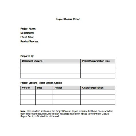 sample project closure template   documents