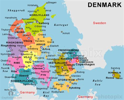 denmark political map denmark travel