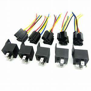 5 Pcs 12 Volt 30  40a Spdt Relay   Wire Socket Car