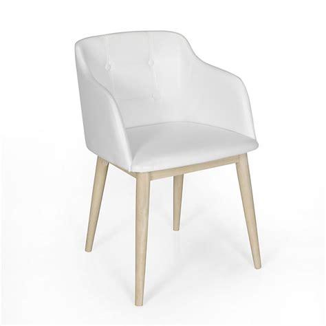alinéa chaises chaise de séjour capitonnée en simili cuir blanc cork