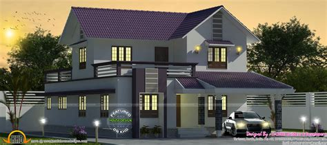 purple colored  sq ft sloping roof house kerala home