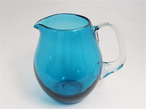 turquoise blue glass ls turquoise glass pitcher hand blown greenish blue glass