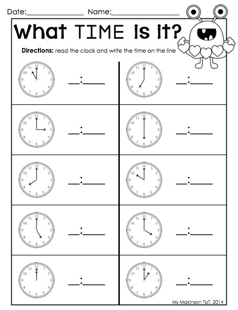 time worksheets packet february printables kindergarten literacy and math