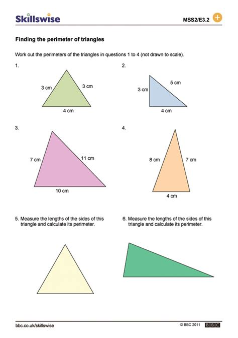 worksheets area and perimeter of triangles worksheet