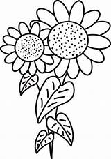 Sunflower Coloring Pages Printable Sunflowers Clipart Drawing Fancy Colouring Sun Cartoon Flowers Van Clip Colors Cliparts Gogh Thanksgiving Leaves Embroidery sketch template