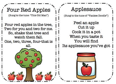 apple songs poems and finger play cards preschool 893 | 2
