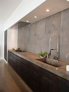 revgercom mur en beton cire gris idee inspirante pour With beton cire mur cuisine