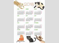 calendarios2018gratisimprimirgatos Yo Blogueo
