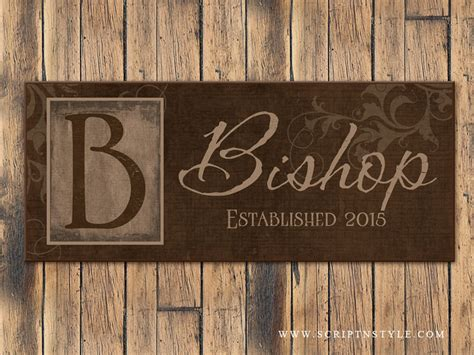 personalized wooden family  sign  monogram