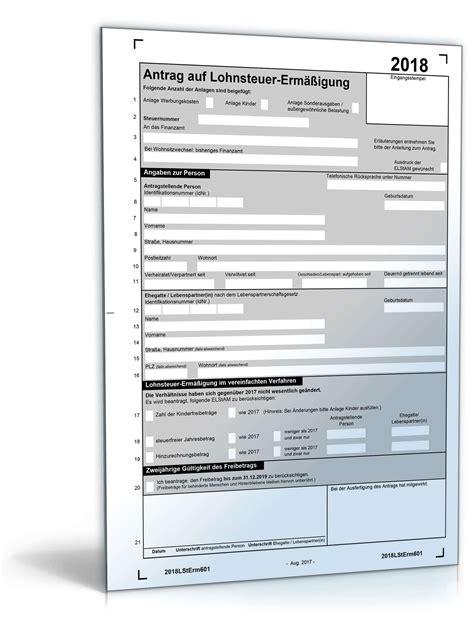 antrag auf lohnsteuerermaessigung  formular zum