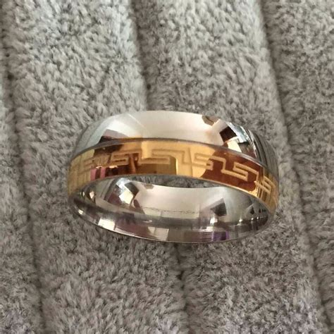 brand luxury large 8mm silve gold plated two tone wedding band rings key anniversary