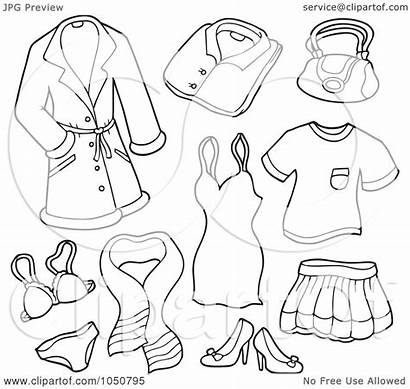 Coloring Pages Clothing Items Colouring Clip Clipart
