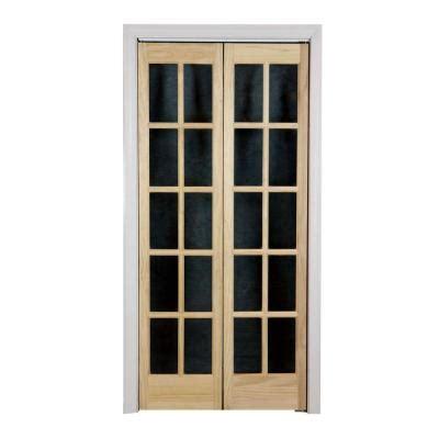 interior glass doors home depot pinecroft 36 in x 80 in glass wood universal reversible interior bi fold door
