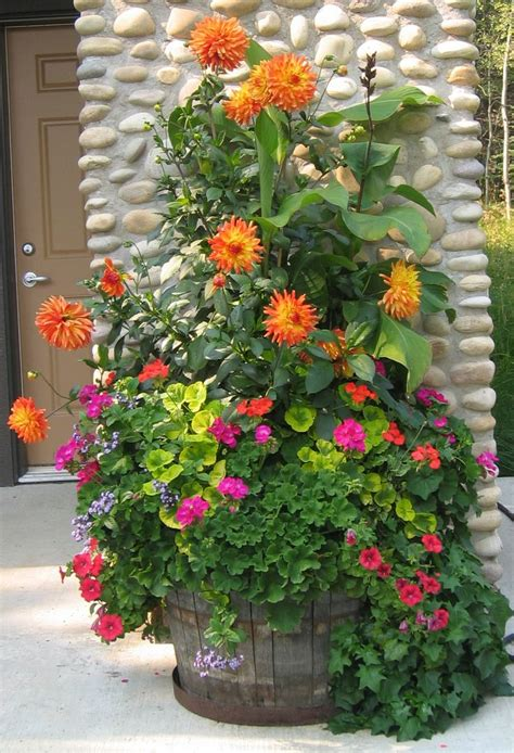 summer planter with dahlias geraniums etc like all the different textures colours gardens