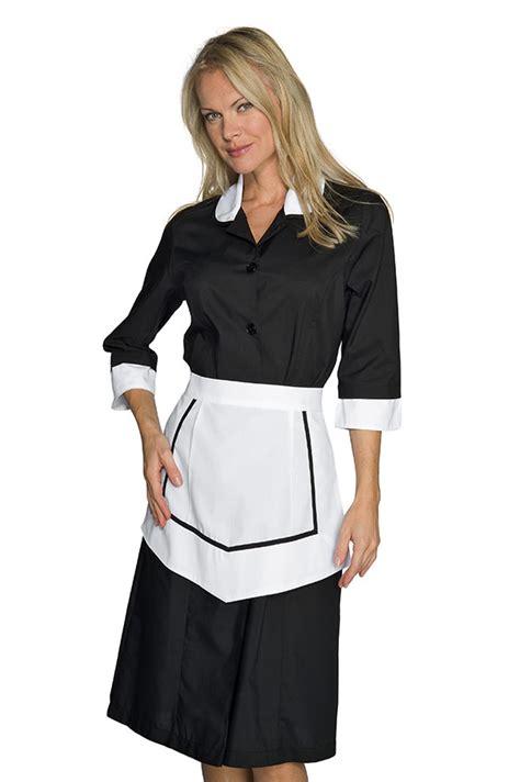 veste de cuisine femme ensemble femme de chambre blouse et tablier noir et blanc