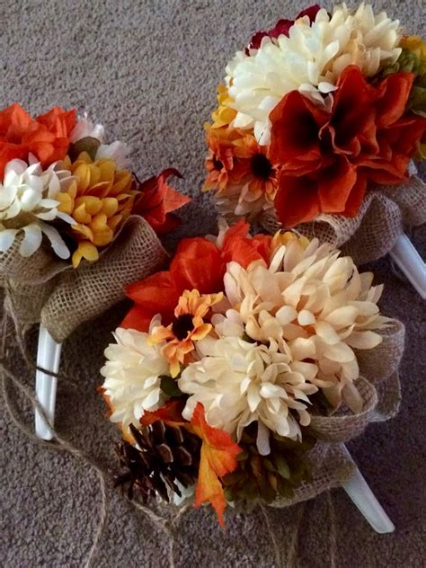 diy bouquets fake flowers burlap and twine fall wedding
