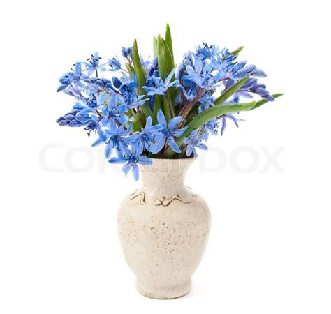 Tulpenstrauß In Vase by Vase Mit Blumen Auf Einem Wei 223 En Hintergrund Stockfoto