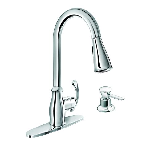 moen kitchen faucets lowes shop moen kipton chrome 1 handle pull down kitchen faucet at lowes com