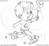 Running Boy Outline Coloring Pinwheel Clipart Illustration Royalty Rf Bannykh Alex Transparent sketch template